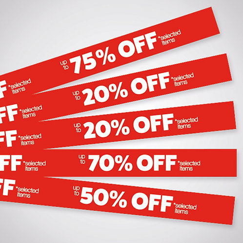 shelf strips, shop sale point of sale, 20% off, 25% off, 50% off, 70% off, 75% off