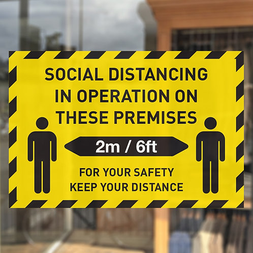 social distancing in operation on these premises window sticker