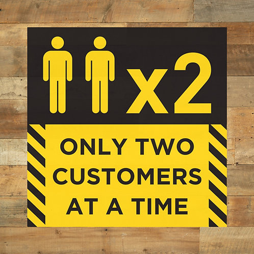 social distancing only two customers at a time floor sticker