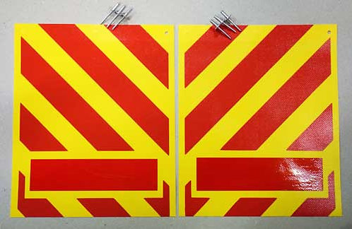 tail lift flags, yellow red chevron, pvc