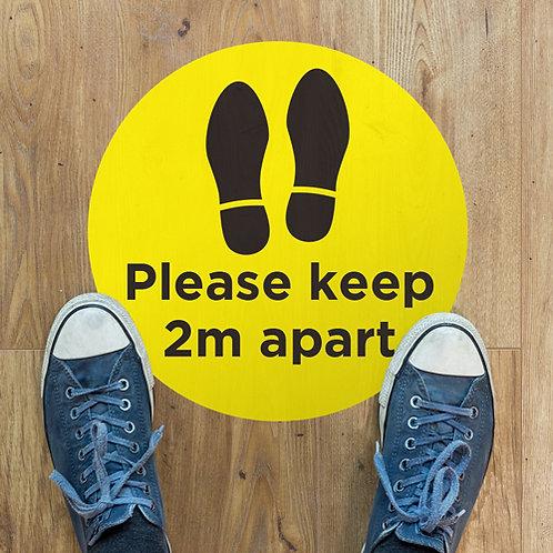 social distancing please keep 2 metres apart floor stickers
