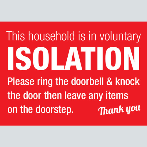 Self Isolation Voluntary Red Warning Sign Graphics Uk