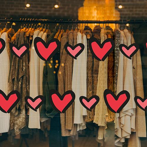 love hearts pattern, window vinyl, stickers