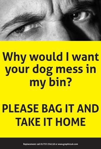 dog fouling, dog poo stickers, wheelie bin dog poo stickers