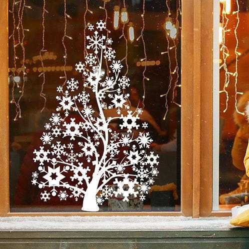christmas tree window decorations, snowflake tree