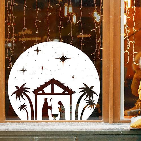 christmas nativity, bethlehem, mary joseph jesus, window sticker