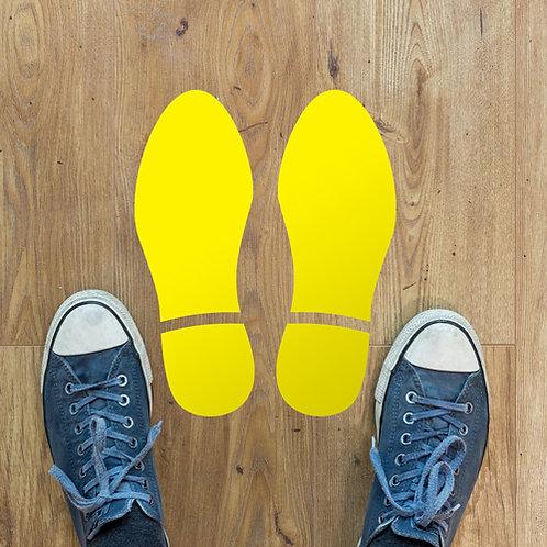 social distancing self adhesive vinyl feet shoe floor stickers