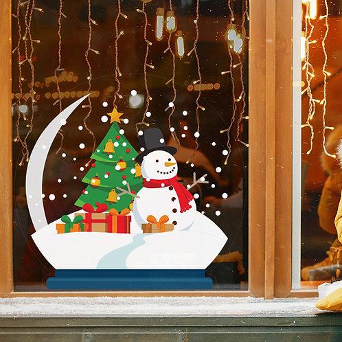 snowman snow globe, christmas tree, window sticker