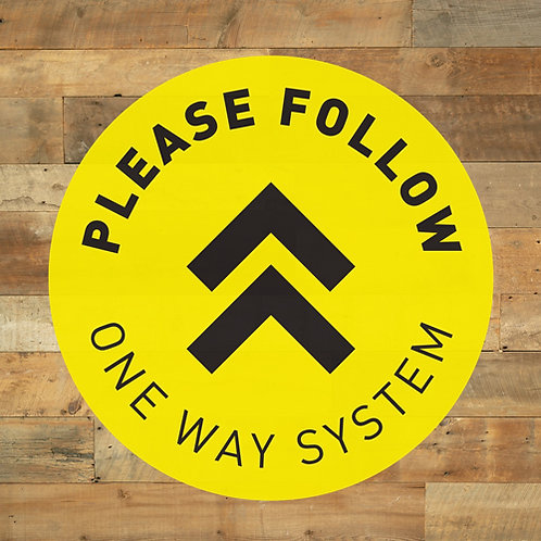 social distancing please follow one way system floor stickers