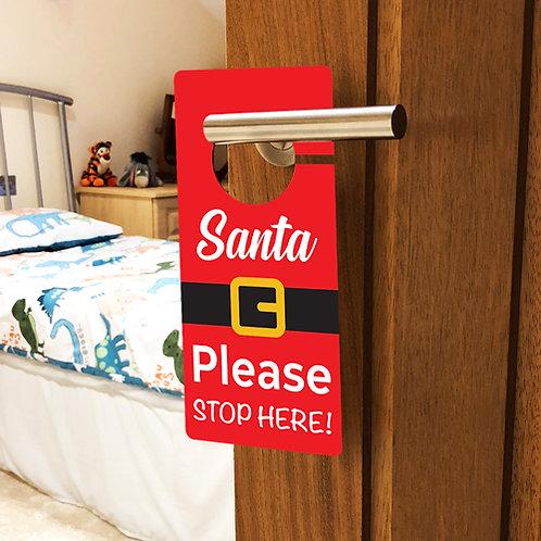 santa please stop here door handle, christmas eve