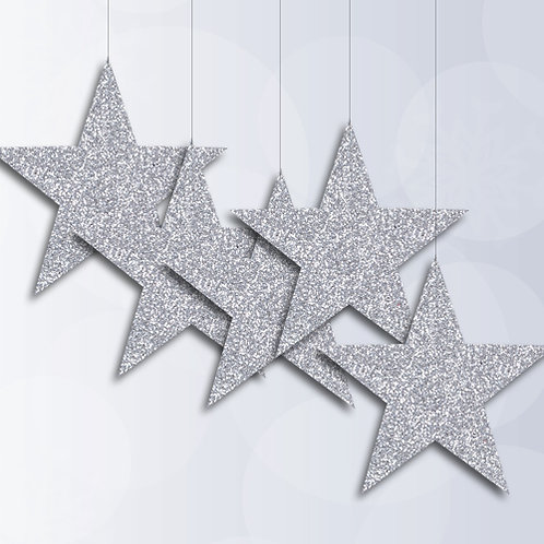 star hanging signs, silver glitter stars, christmas decorations