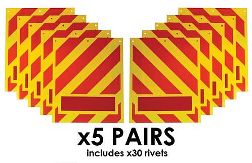 tail lift flags, red yellow chevron, yellow flags