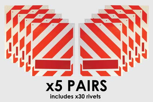 tail lift warning flags, white flags, red chevrons, rivets