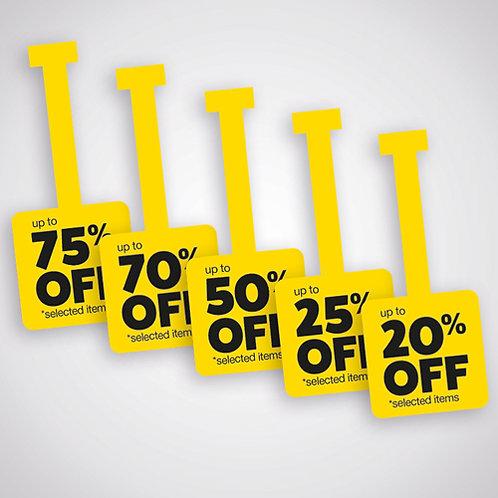 shelf wobblers, 20% 25% 50% 70% 75%, upto off