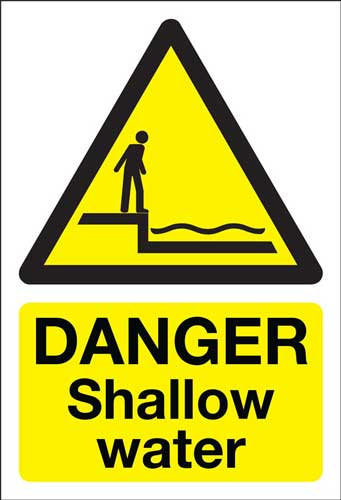 danger shallow water, health and safety