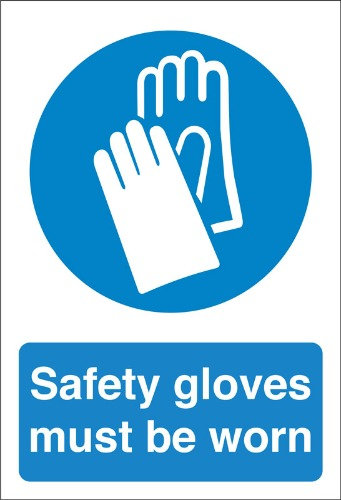 safety gloves must be worn, health and safety signs