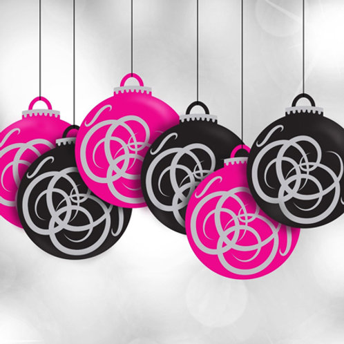 bauble decorations, window display, hanging mobiles