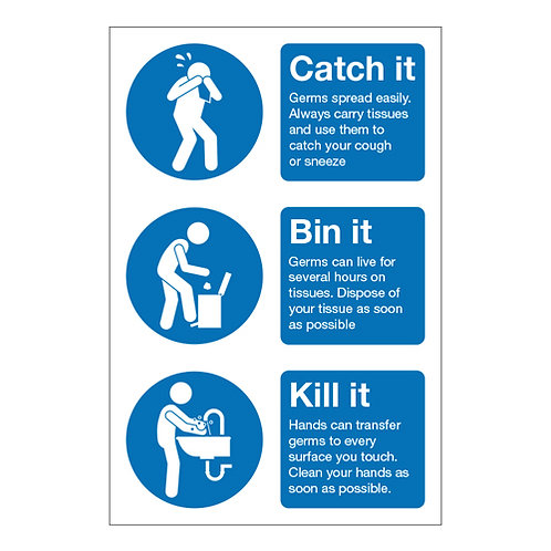 coronavirus, covid 19, catch it bin it kill it, health and safety warning sticker, stop germs sign, prevent germs poster