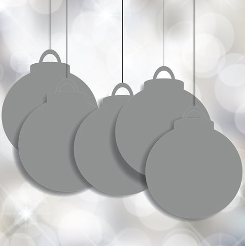 Bauble Christmas Plain Silver Hanging Signs