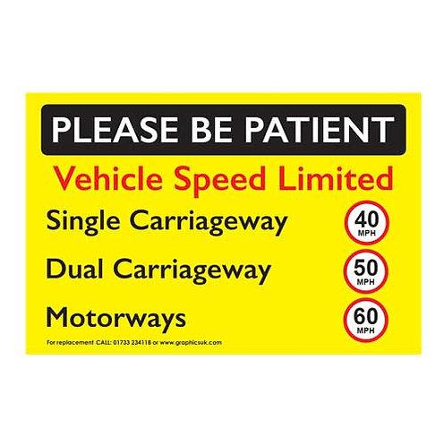 speed limiter sticker, 40 50 60mph, please be patient