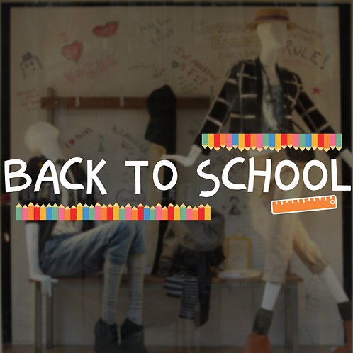 back to school window stickers, window displays