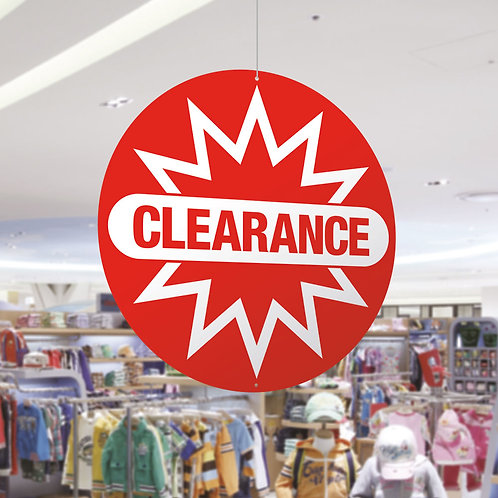 clearance sale hanging signs