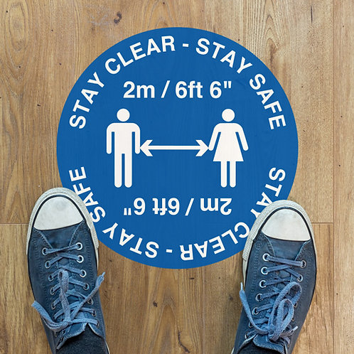 stay clear stay safe social distancing floor stickers