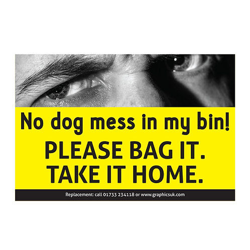 stop dog poo, no dog mess in my bin sticker