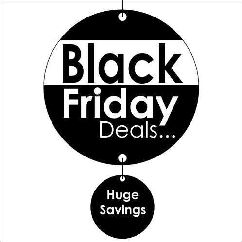 black friday hanging signs, shop floor, window display