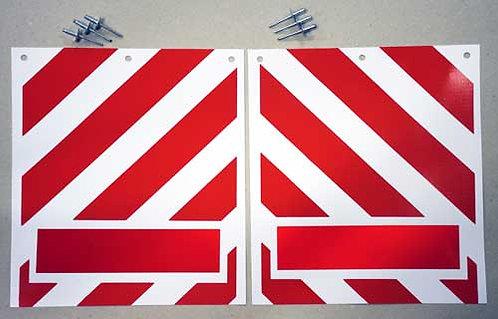 tail lift flags, red white chevrons, pvc