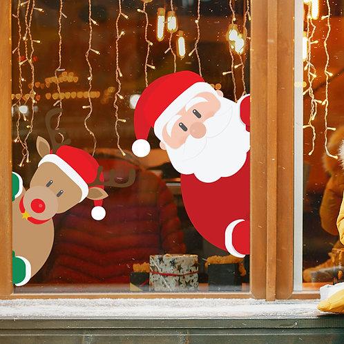santa window stickers, reindeer window stickers,