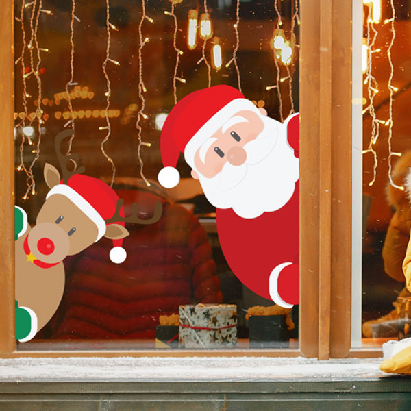 Santa And Reindeer Peeping Christmas Removable Window