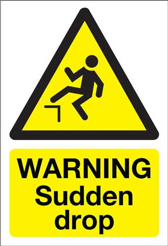 warning sudden drop, health and safety