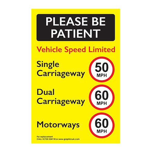 please be patient, speed limited sticker