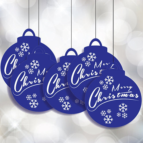 Bauble Merry Christmas Blue Hanging Signs