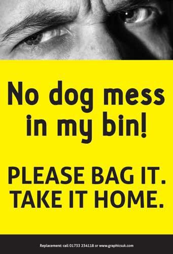 dog fouling, dog poo stickers, wheelie bin stickers