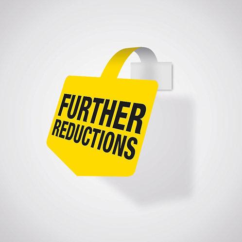 further reductions, shelf wobbler shelf talker, further reductions shop sale