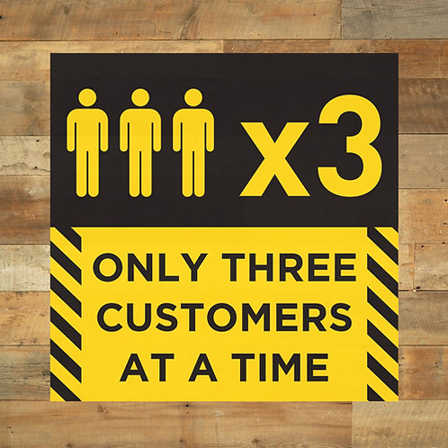 social distancing only three customers at a time floor stickers