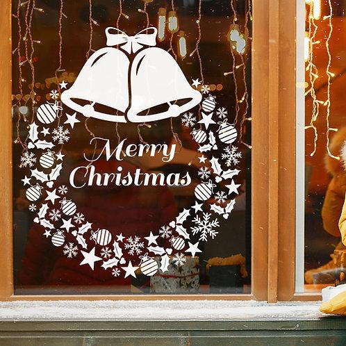 merry christmas wreath window sticker