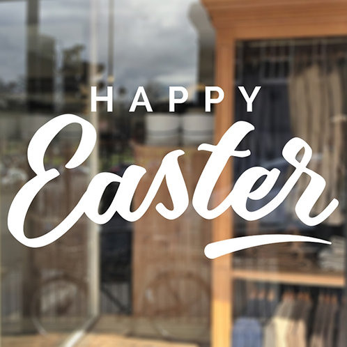 happy easter self adhesive lettering shop window
