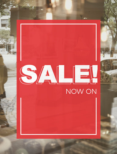 sale poster, red, window poster