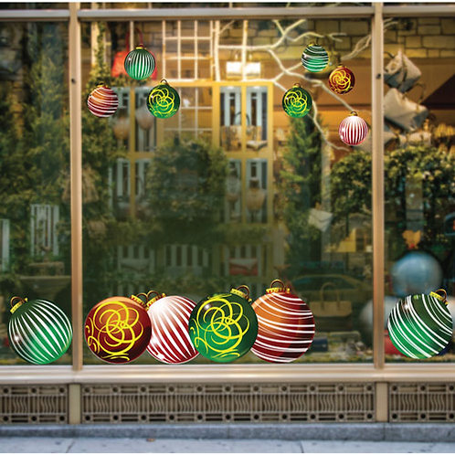 christmas window decorations, baubles stickers