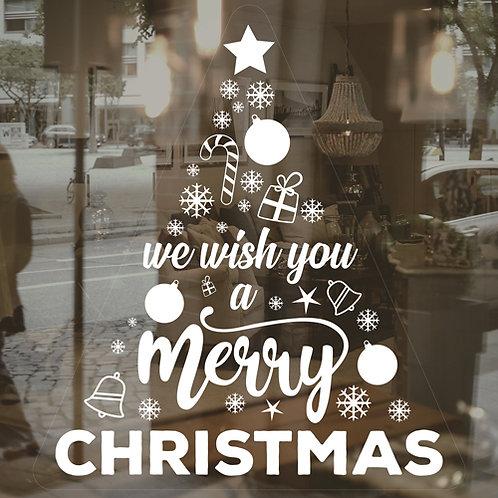 we wish you a merry christmas tree, window sticker decoration