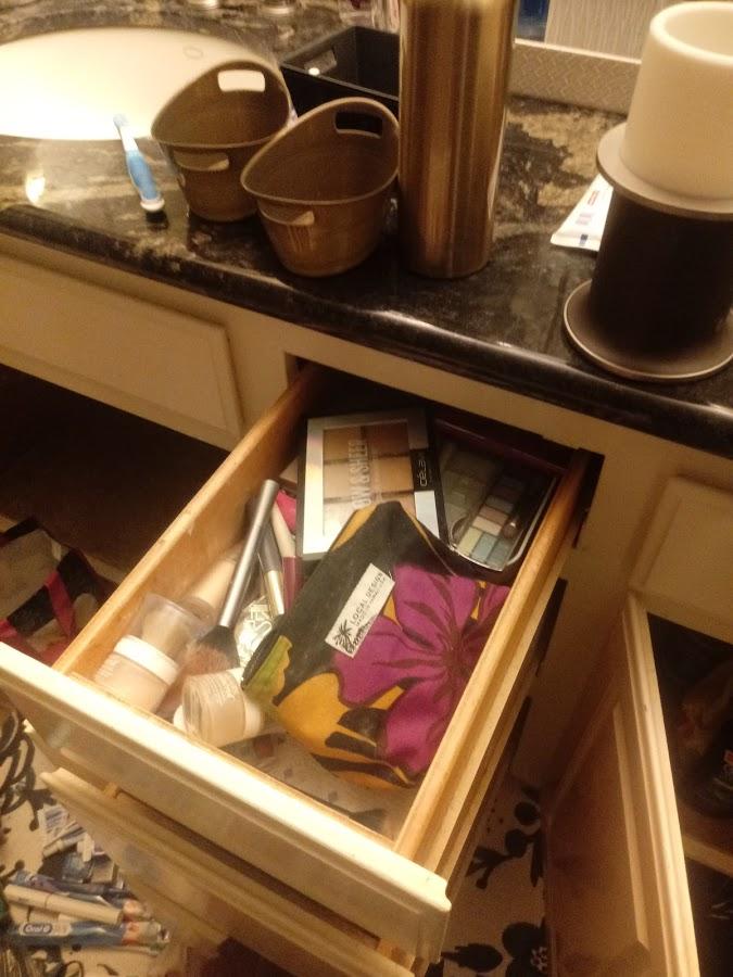 makeup drawer before