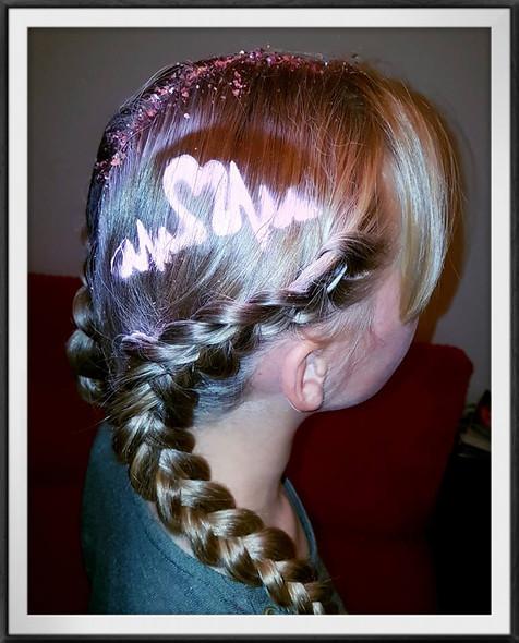 Heart Hair Stencil with Dutch Braids