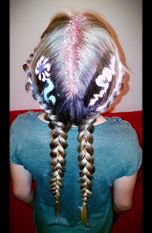 Heart Hair Stencil with Dutch Braids & Glitter