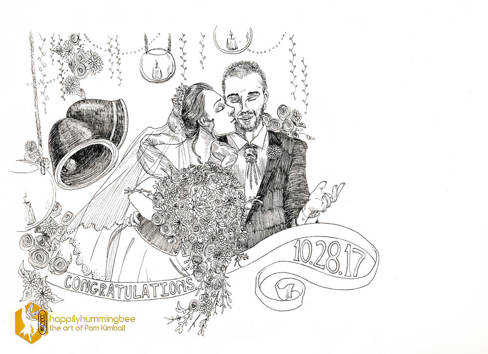 "Wedding Card Bi-fold Oct. 2017. Micron pen. 11"" x 8"""