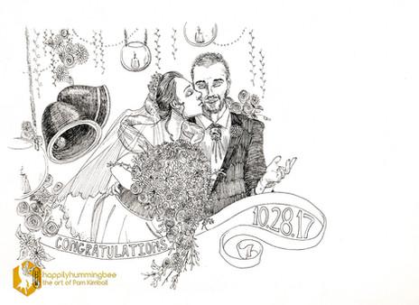 "Wedding Card Bi-fold Oct. 2017. Micron pen. 11"" x 8"""