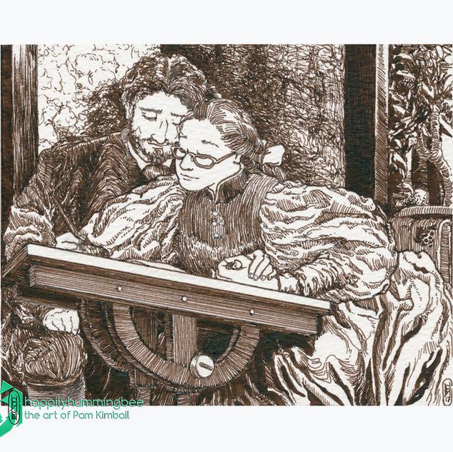 The Painter and Her Beloved - ink