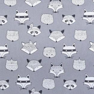 Fox Faces On Grey